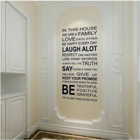 Home Rules Wall Decal Quote Stickers