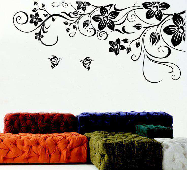 black flower wall decal | bedroom | lounge | wall stickers
