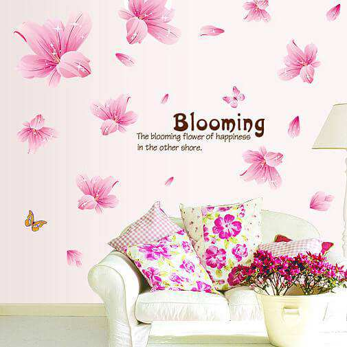 pink flower art wall stickers decal | bedroom | girls room | home decor