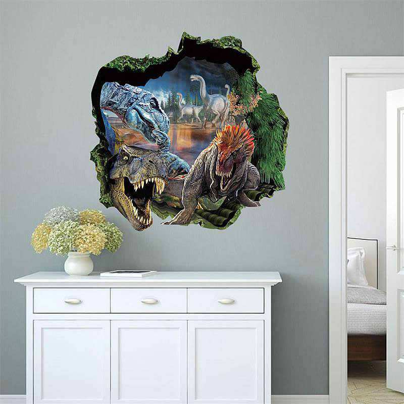 D Dinosaur Jurassic Park Wall Stickers Animals Boys Room - 3d dinosaur wall decals
