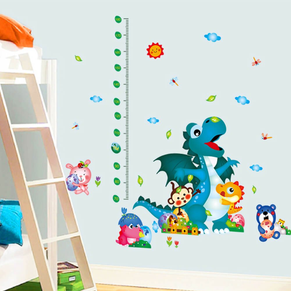 dinosaur growth chart tattoo stickers decals boys room girls room chart wall stickers