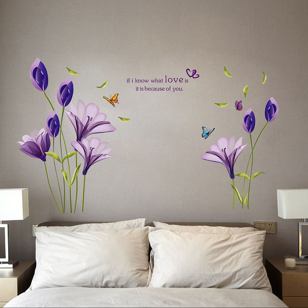 Purple lily flower wall decals stickers bedroom lounge purple lily flower wall stickers amipublicfo Image collections