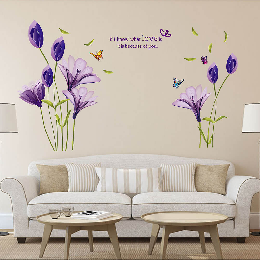 Purple Lily Flower | Wall Decals & Stickers | Bedroom | Lounge