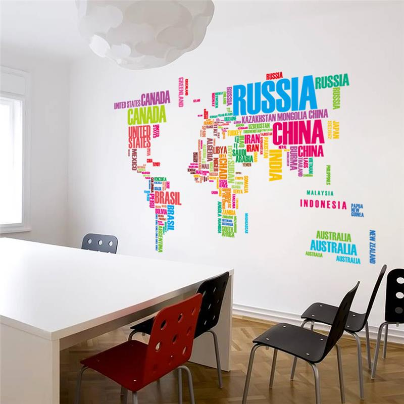 Colourful world map wall stickers home decor wall decals colourful world map wall stickers gumiabroncs Image collections