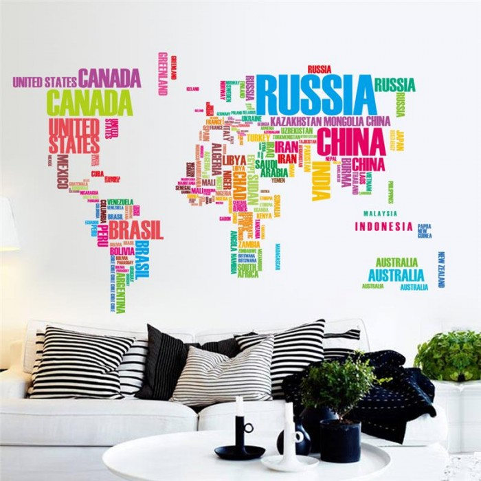 Colourful World Map Wall Stickers
