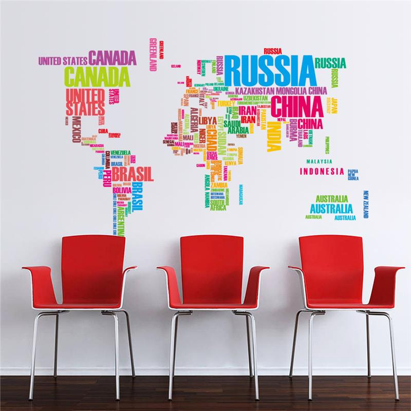 Colourful world map wall stickers home decor wall decals colourful world map wall stickers gumiabroncs Gallery