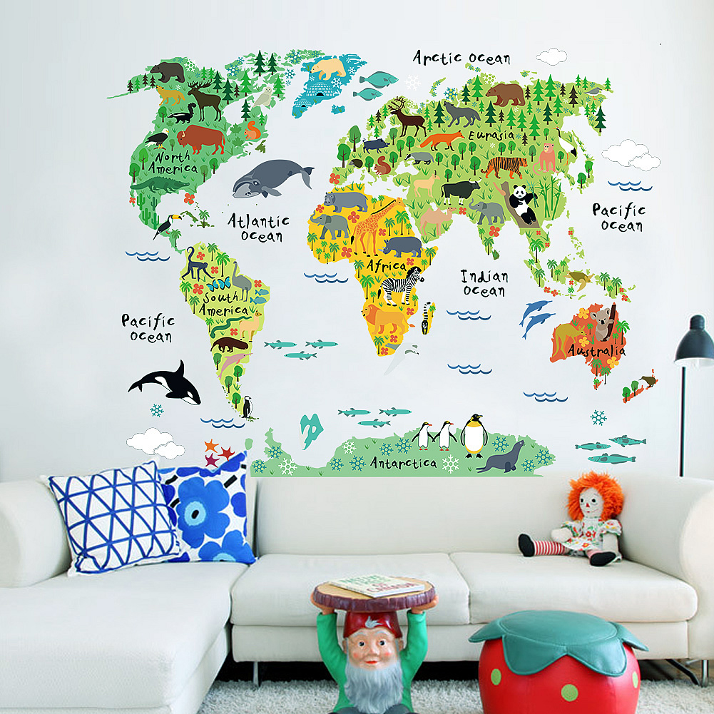 Animal ocean world map wall stickers boys room wall decals animal ocean world map wall stickers gumiabroncs Gallery