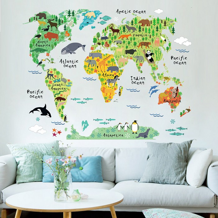 Animal Ocean World Map Wall Stickers