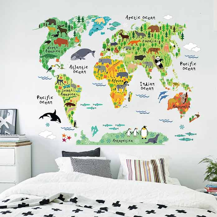 animal ocean world map wall stickers | boys room | wall decals