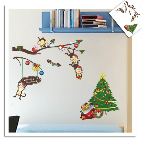 Cute Monkey Christmas Tree Wall Sticker