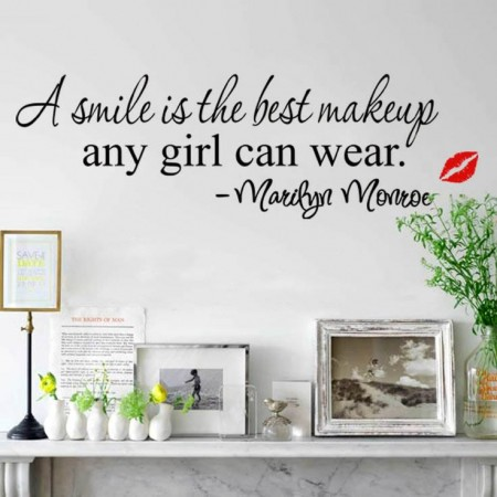 A smile is the best makeup any girl Wall Quote Decals