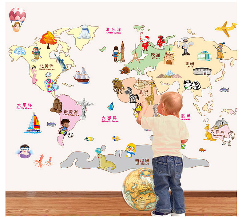 safari animal world map wall stickers | boys room | wall decals