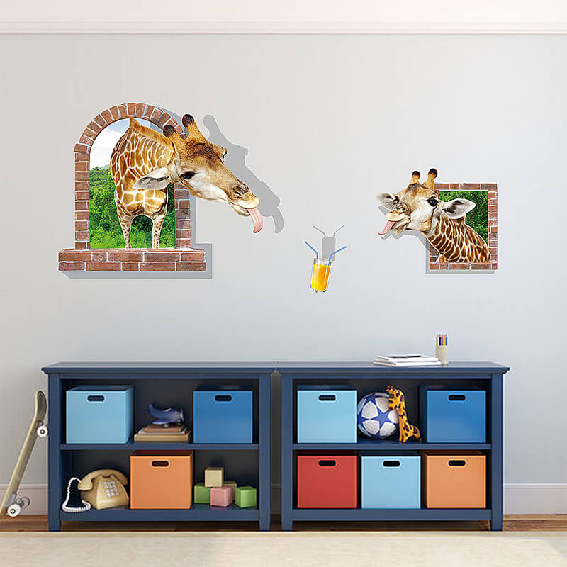 3d giraffe wall stickers decals | animals | boys room | wall decals