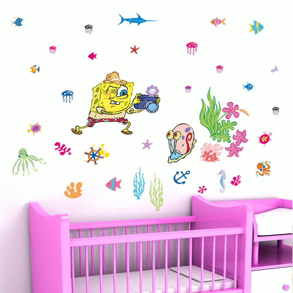 Spongebob Wall Stickers Nursery Girls Room Wall Decals - Spongebob room decals