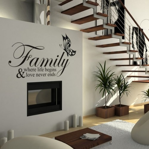 Family where life begins Wall Quote Decals