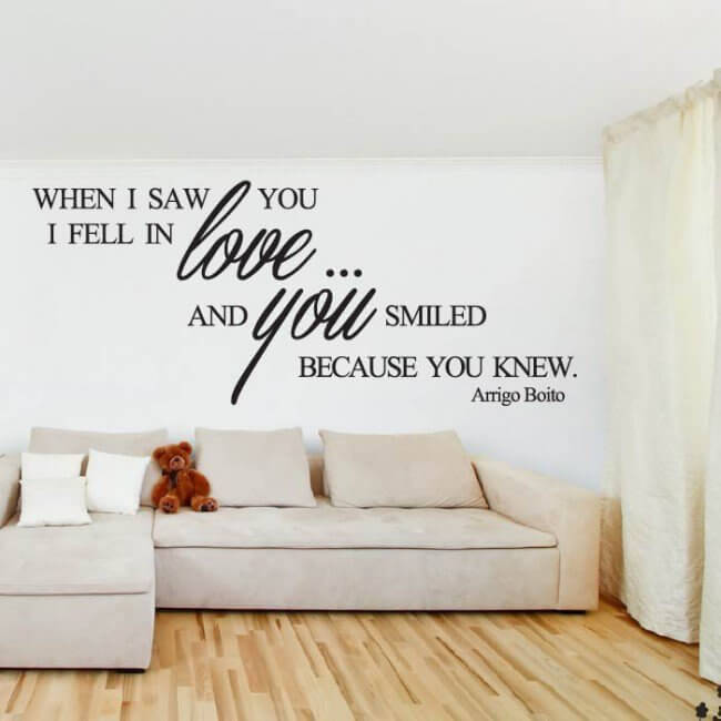 Love Wall Quotes Beauteous When I Saw You I Fell In Love Wall Quotes Decals  Quotes  Wall