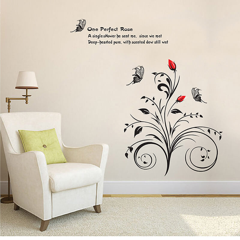 black flower wall stickers | flowers & tree | lounge | wall decals