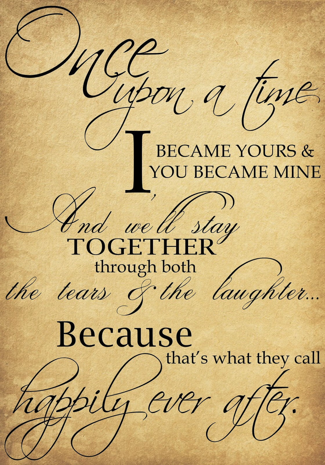 Once upon a time I became yours wall quotes decals | Wall Stickers
