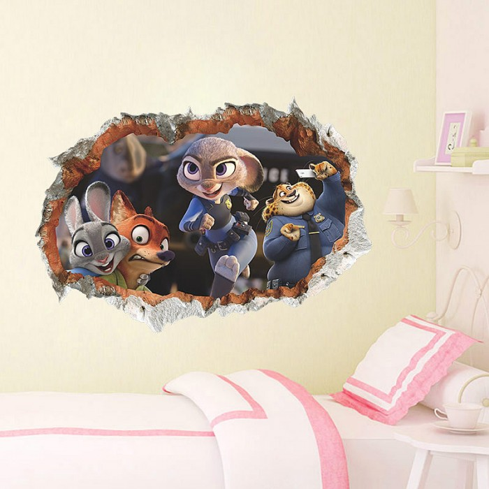 3D Zootopia wall Stickers For Kids