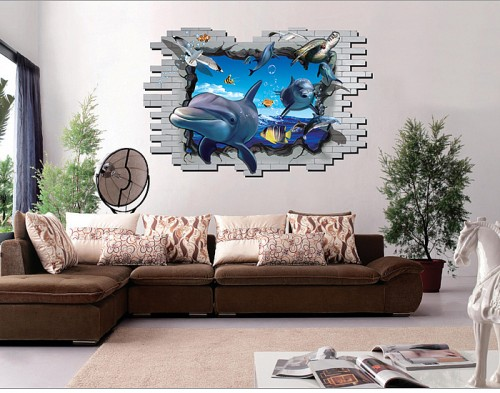 3D Shark Fish Wall Stickers