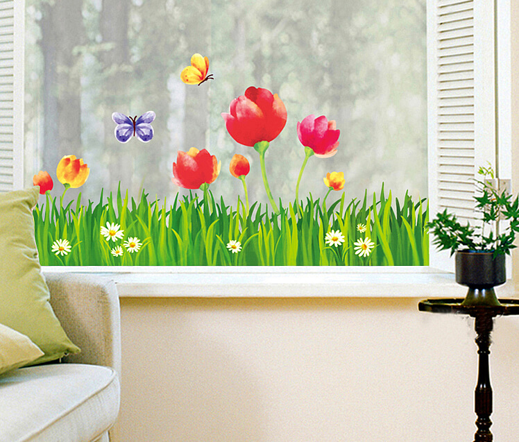 tulip flower grass wall stickers | flowers & tree | wall decals