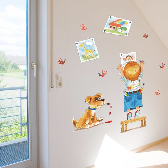 Boy & Dog Wall Stickers For Kids