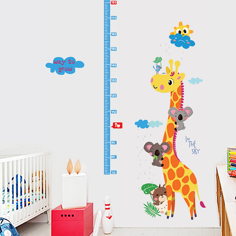 giraffe height chart kids wall sticker | height chart stickers