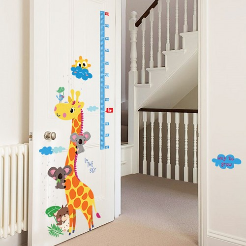 Giraffe Height Chart Kids Wall Stickers