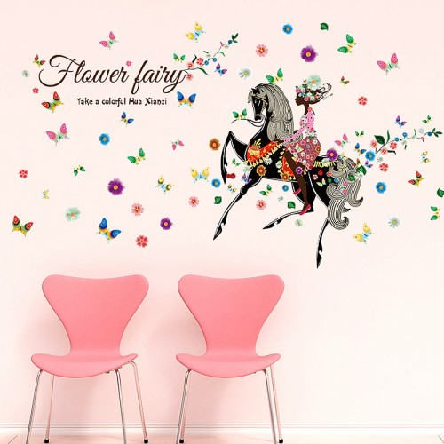 Large Flower Fairy Wall Stickers