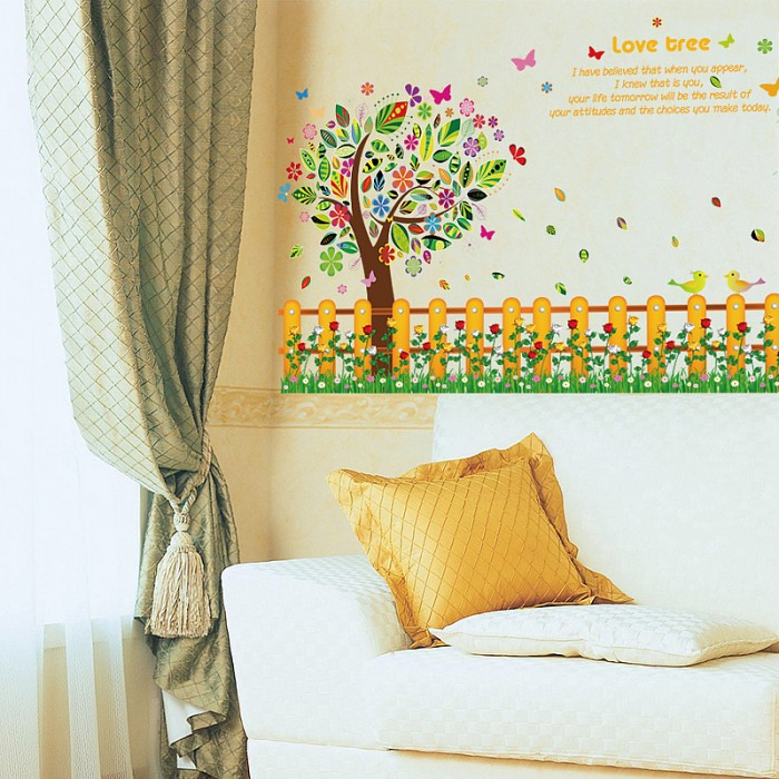 Colourful Tree Fence Wall Stickers