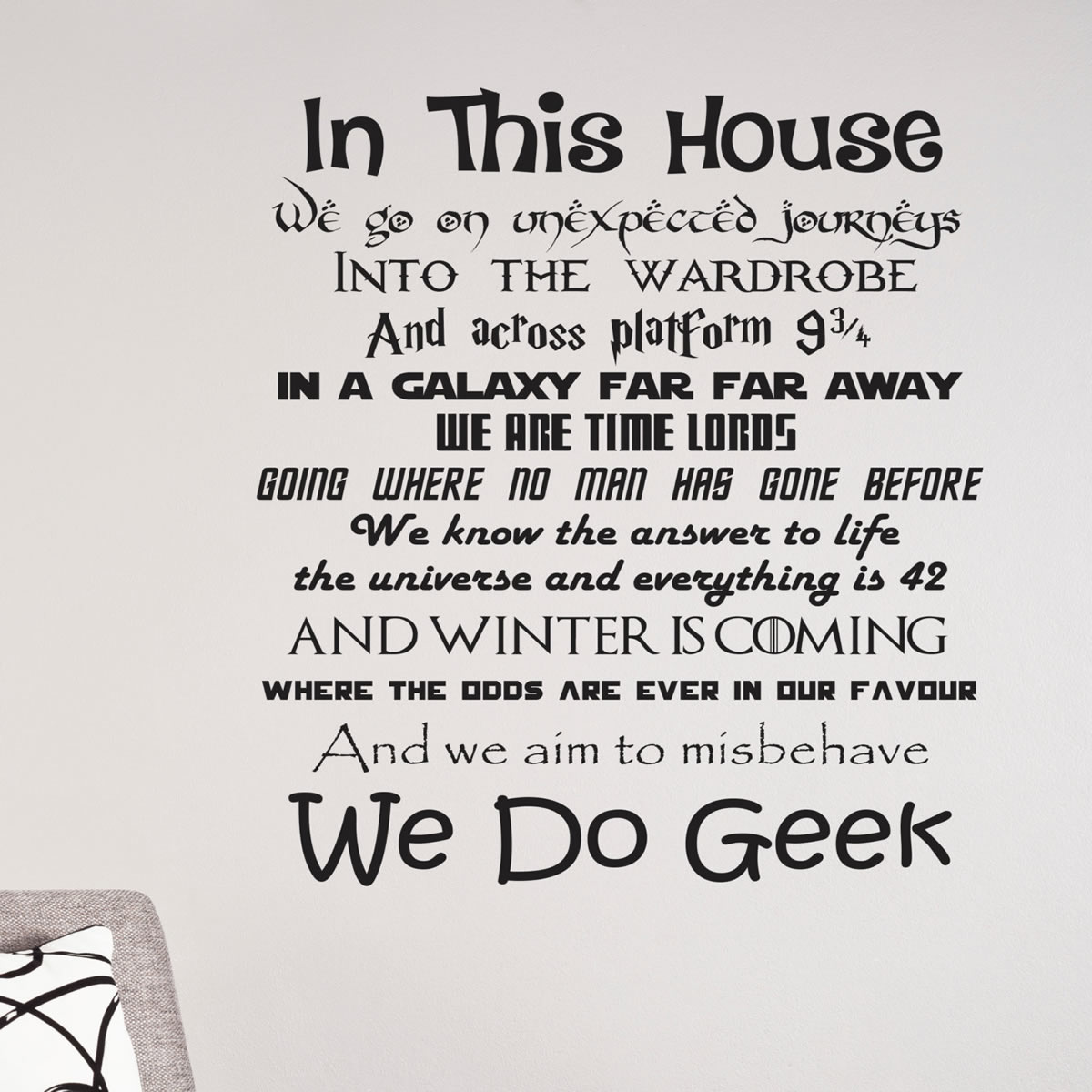 In This House We Do Geek Wall Quote Decals Lounge Wall Stickers