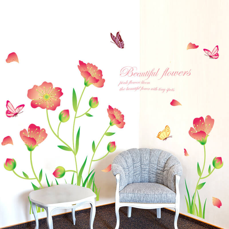 beautiful flowers wall decals | lounge | flowers & tree | wall decals