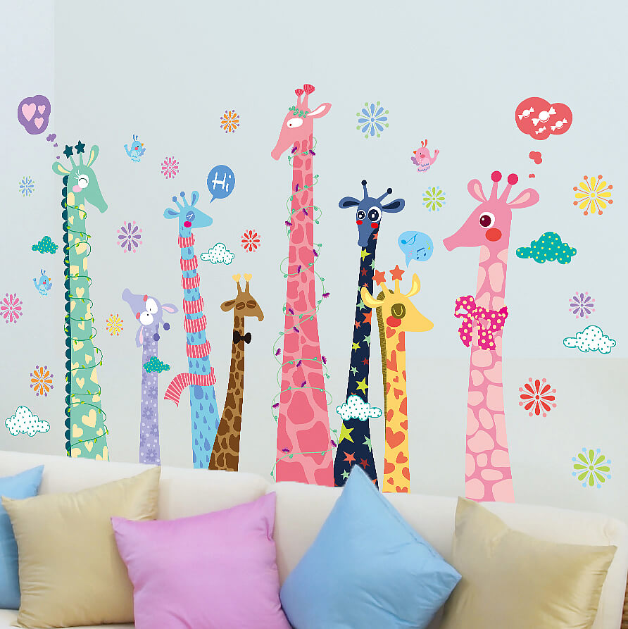 colorful giraffes wall stickers animals boys room wall decals colorful giraffes wall stickers