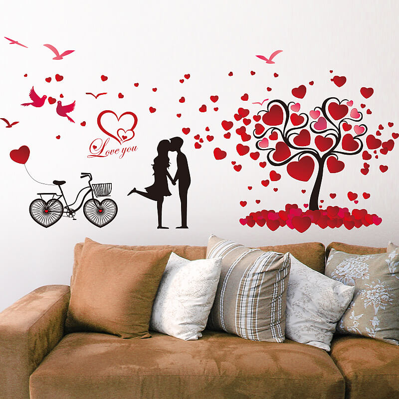 Love Birds Hearts Tree Wall Stickers Bedroom Wall Decals - Wall decals love