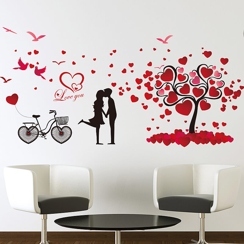 love birds hearts tree wall stickers | bedroom | wall decals