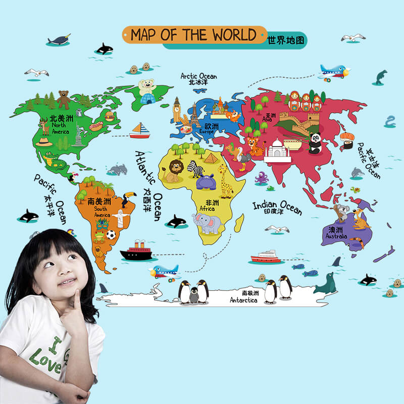 Kids World Map Wall Sticker Illustrated Home Decor Vinyl Wall Art Sticker  for Children\'s