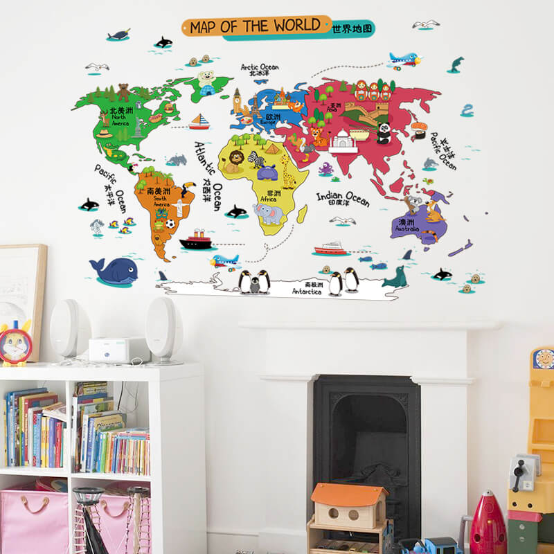 Kids world map wall stickers boys room nursery wall decals world map wall sticker illustrated home decor vinyl wall art sticker for childrens gumiabroncs Image collections