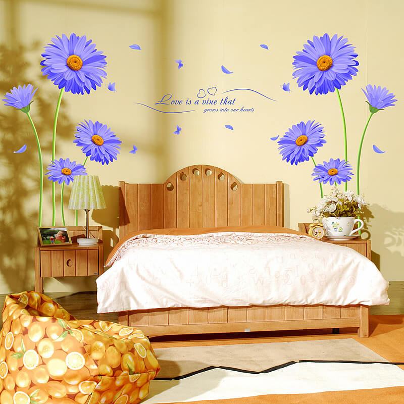 129d9099e1 ... Decals and Stickers, Lounge/Purple Flower Wall Stickers. Flower Wall  Stickers