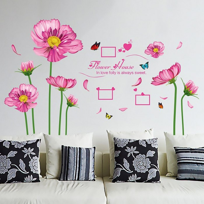 Pink flowers home decoration wall sticker