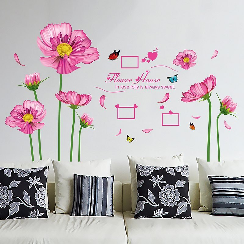 Pink Flowers Home Decoration Wall Sticker Part 35