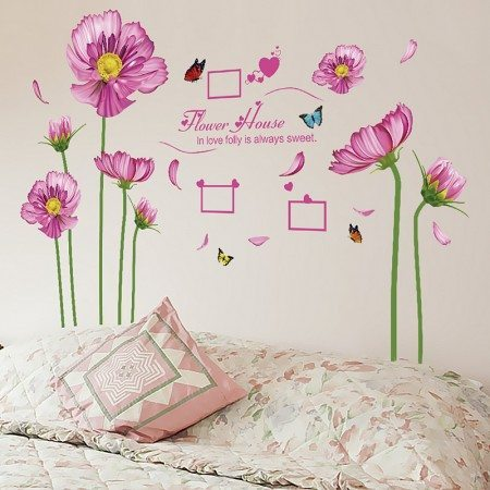 Pink flowers photo frame decal