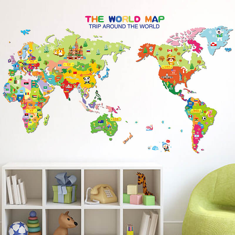 kids world map wall stickers | home decor | boys room | wall decals