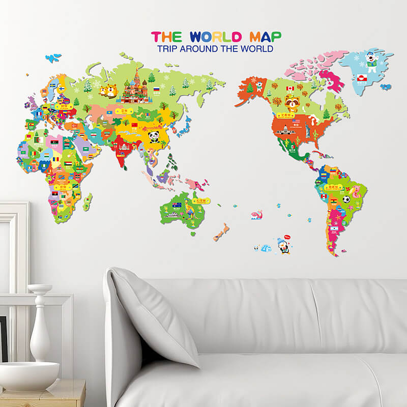 Kids world map wall stickers home decor boys room wall decals world map wall stickers gumiabroncs Image collections