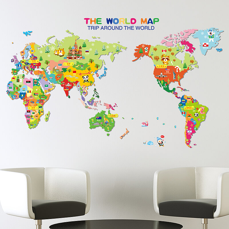 Kids World Map Wall Stickers Home Decor Boys Room Wall Decals