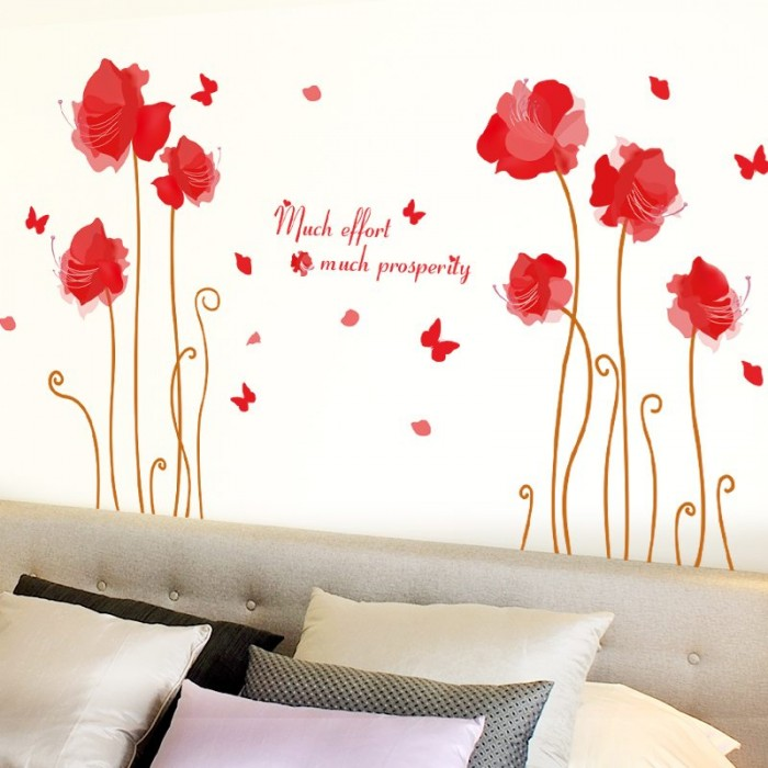 Romantic Safflower Wall Stickers
