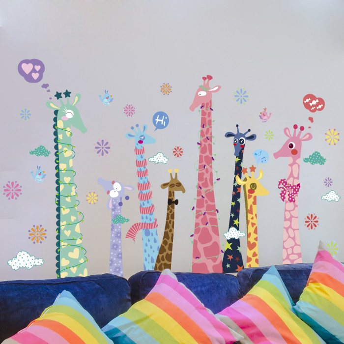 Colorful Giraffes Wall Stickers