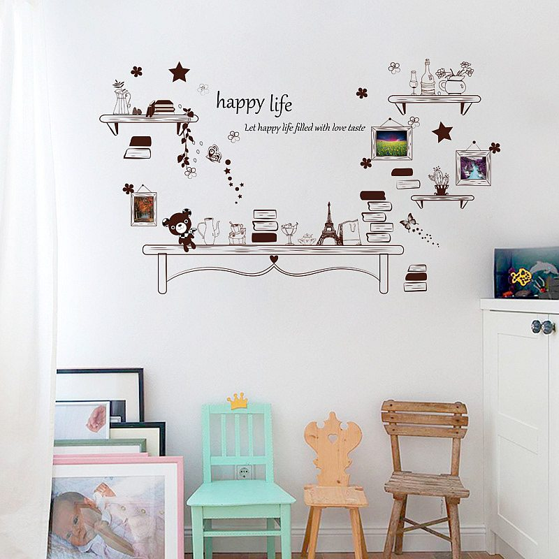 happy life picture frame photo wall stickers | home decor | wall decals