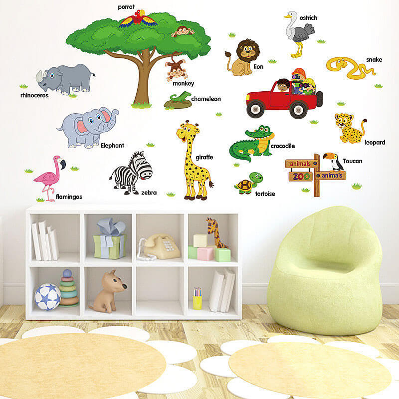 ... Animals Wall Stickers For Kids Animals Boys Room Wall Decals; Animal ... Part 82