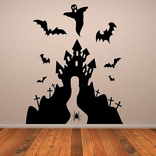 Haunted House Halloween Wall Decals U2013 Black Colour Made From Vinyl