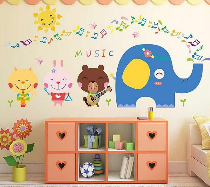 Elephant Music Note Wall Stickers